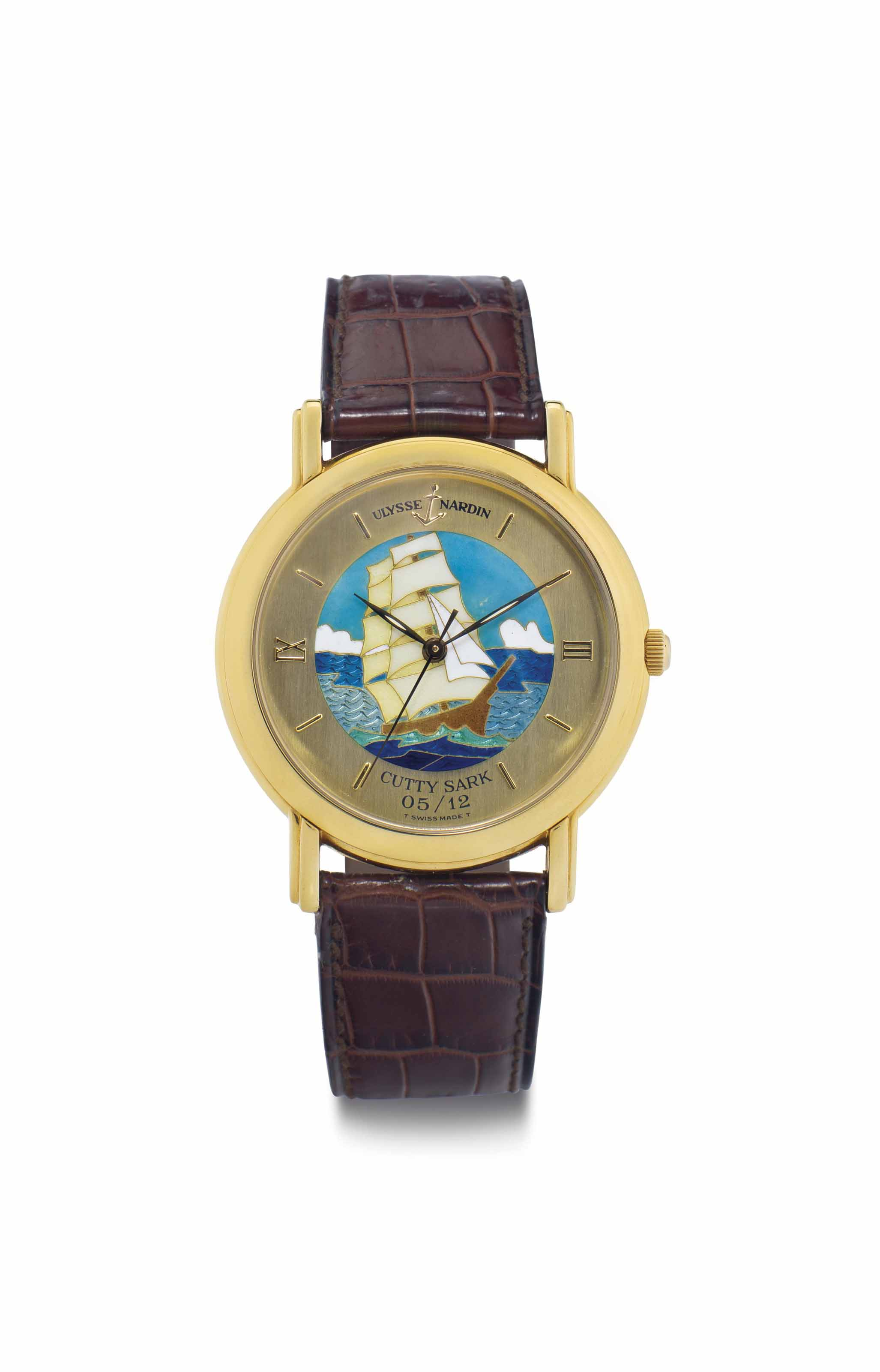 Ulysse Nardin. A Fine Limited Edition 18k Gold Automatic Wristwatch with Cloisonné Enamel Dial