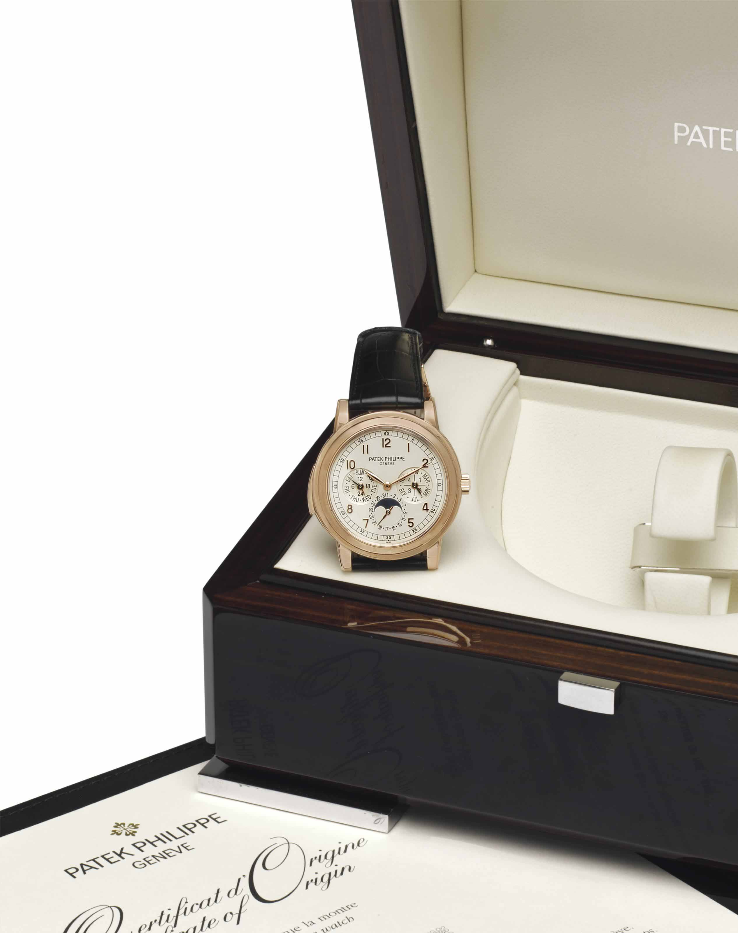 Patek Philippe. A Fine and Rare Oversized 18k Pink Gold Automatic Minute Repeating Perpetual Calendar Wristwatch with Moon Phases and Original Certificate