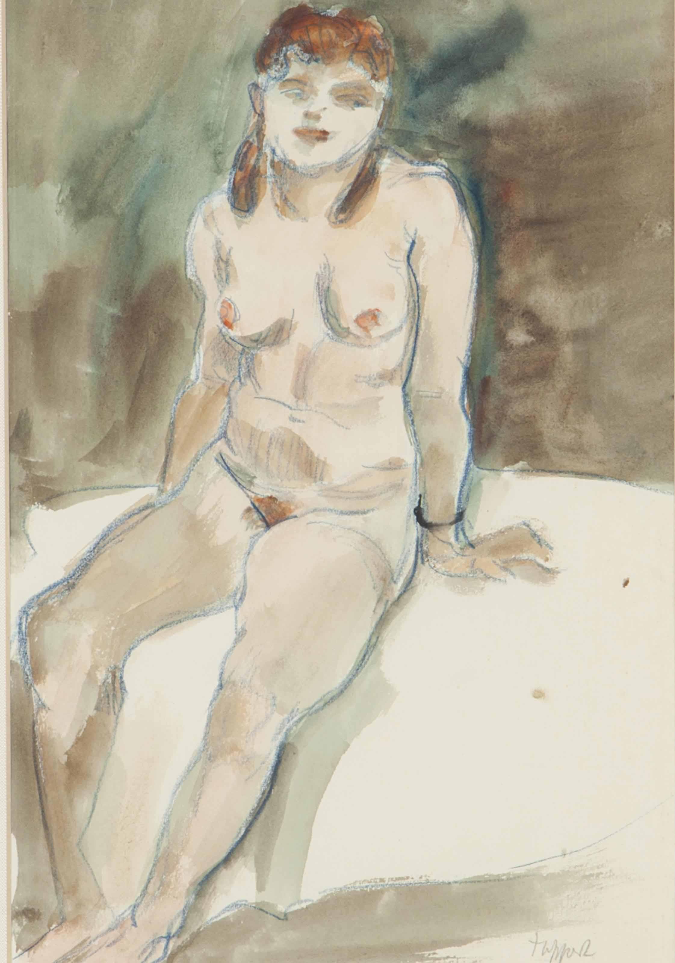 Auf dem bett sitzender weiblicher akt mit rotem haar