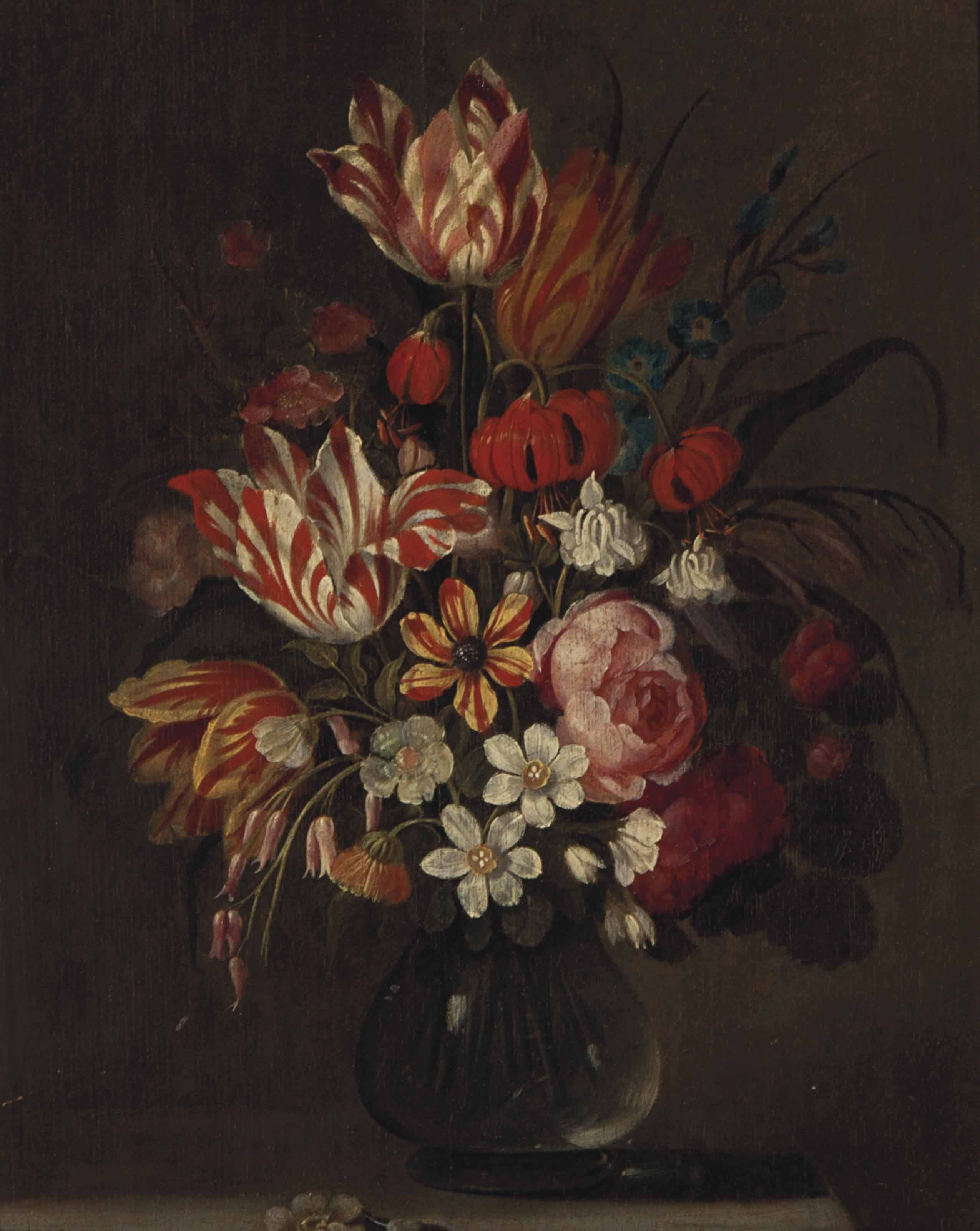 Still life with Tulips and Carnations in a glass vase