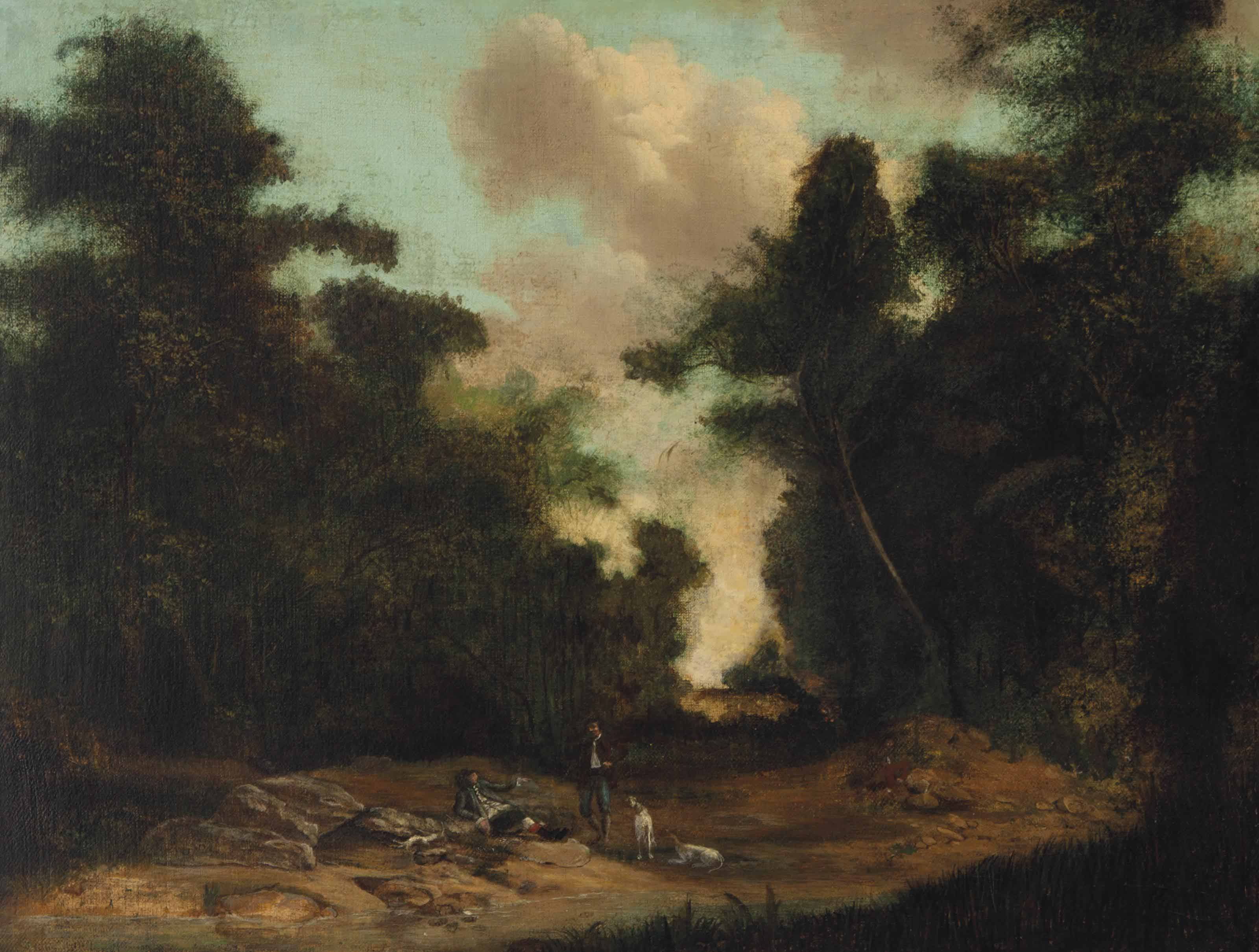Figures with a dog in a wooded landscape