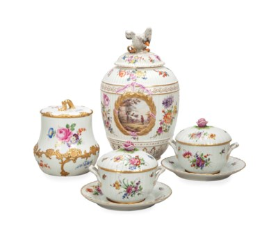 TWO GERMAN PORCELAIN JARS AND