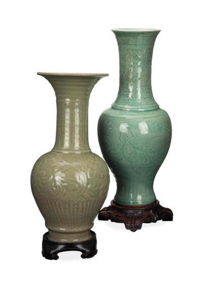 TWO CHINESE CARVED CELADON GLA