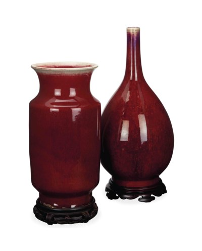 TWO CHINESE COPPER RED GLAZED