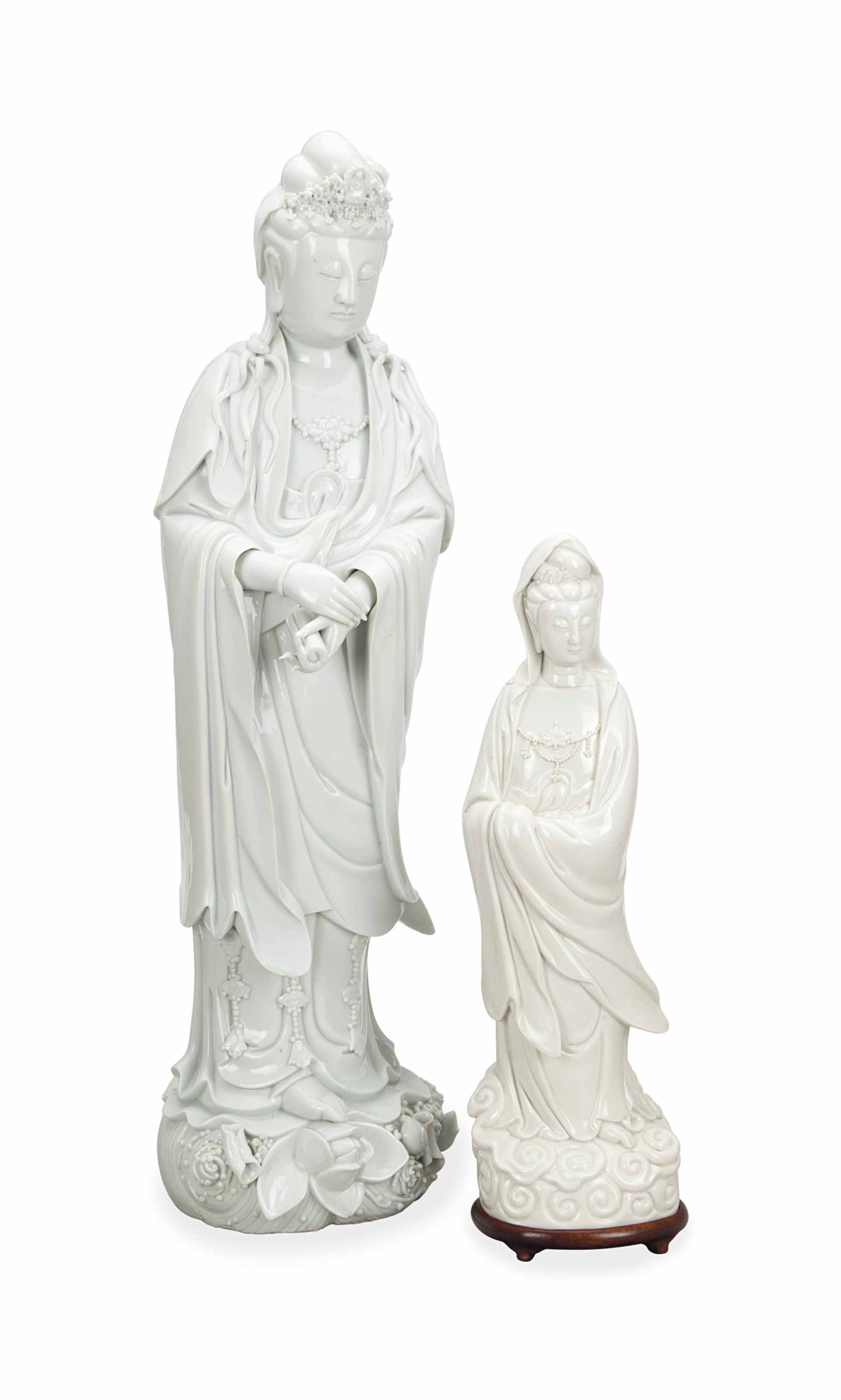 TWO CHINESE WHITE-GLAZED FIGUR