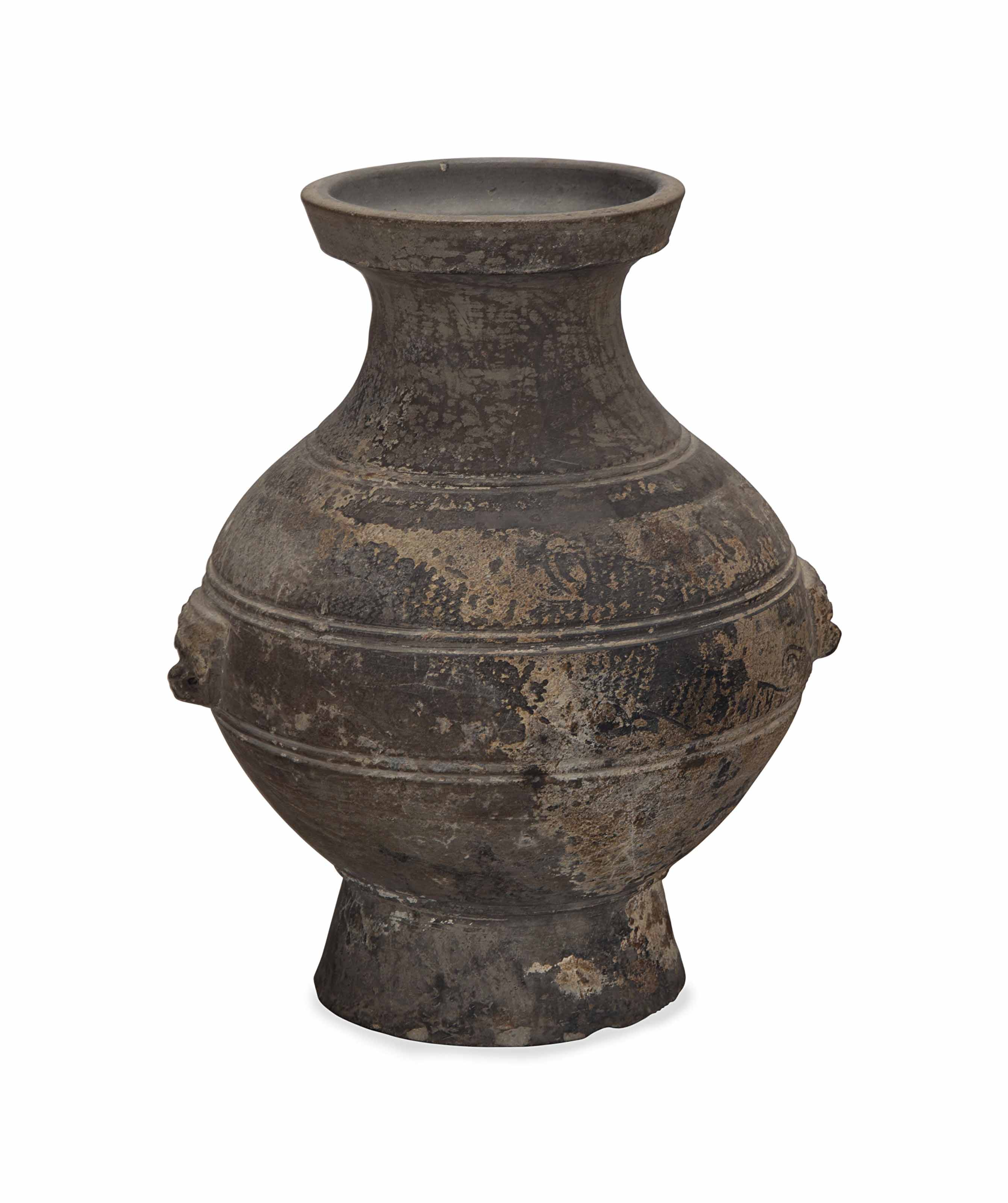 A CHINESE GREY-PAINTED POTTERY