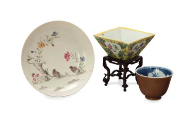 TWO CHINESE FAMILLE ROSE TABLE