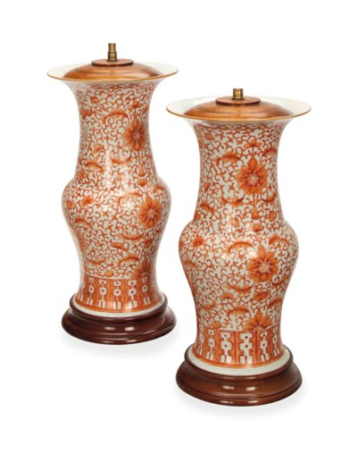 A PAIR OF CHINESE IRON-RED AND