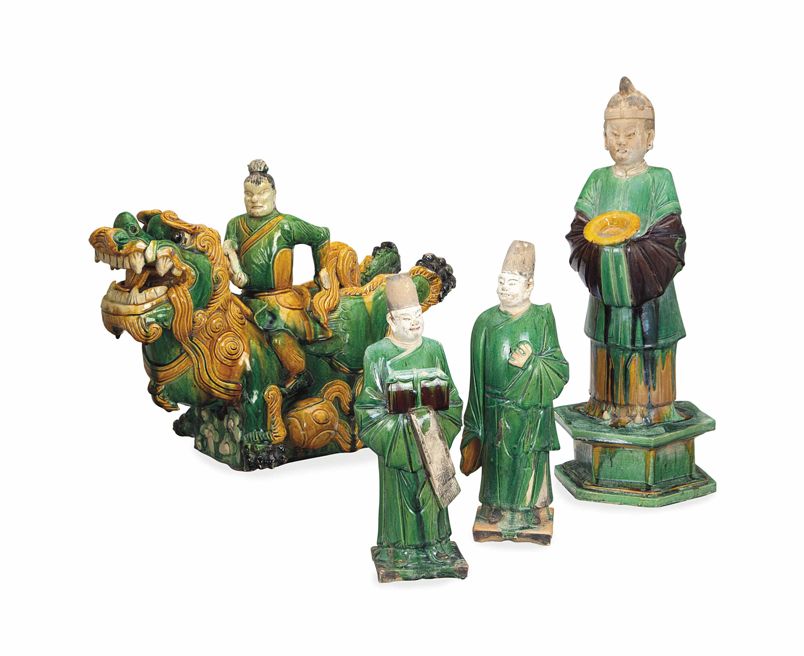 A GROUP OF MING-STYLE GREEN AN