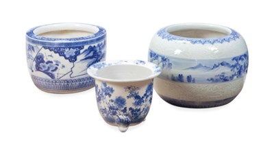 TWO JAPANESE LARGE BLUE AND WH