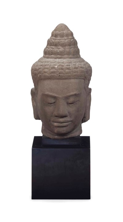 A KHMER OR THAI SANDSTONE HEAD