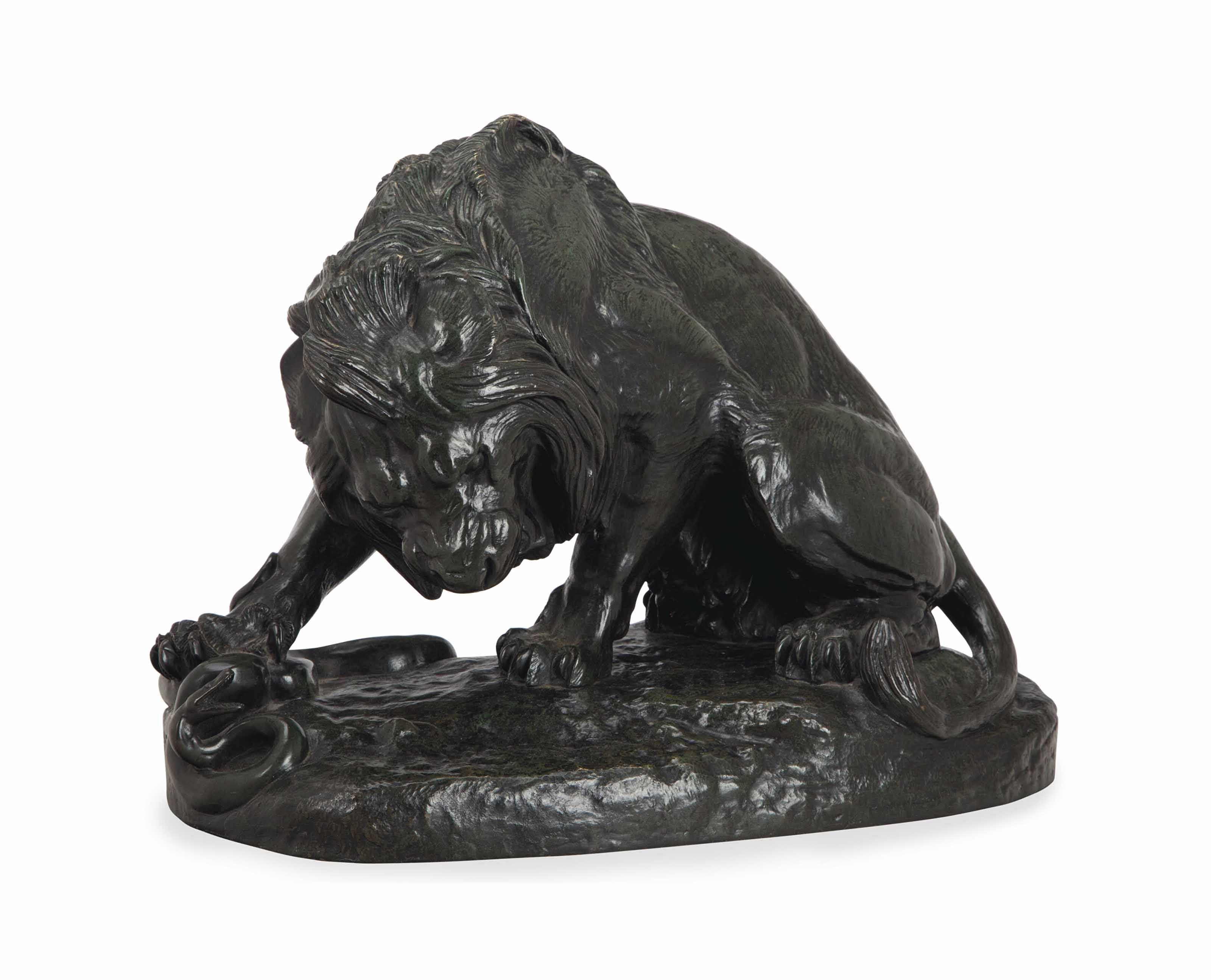 A FRENCH BRONZE MODEL OF 'LION