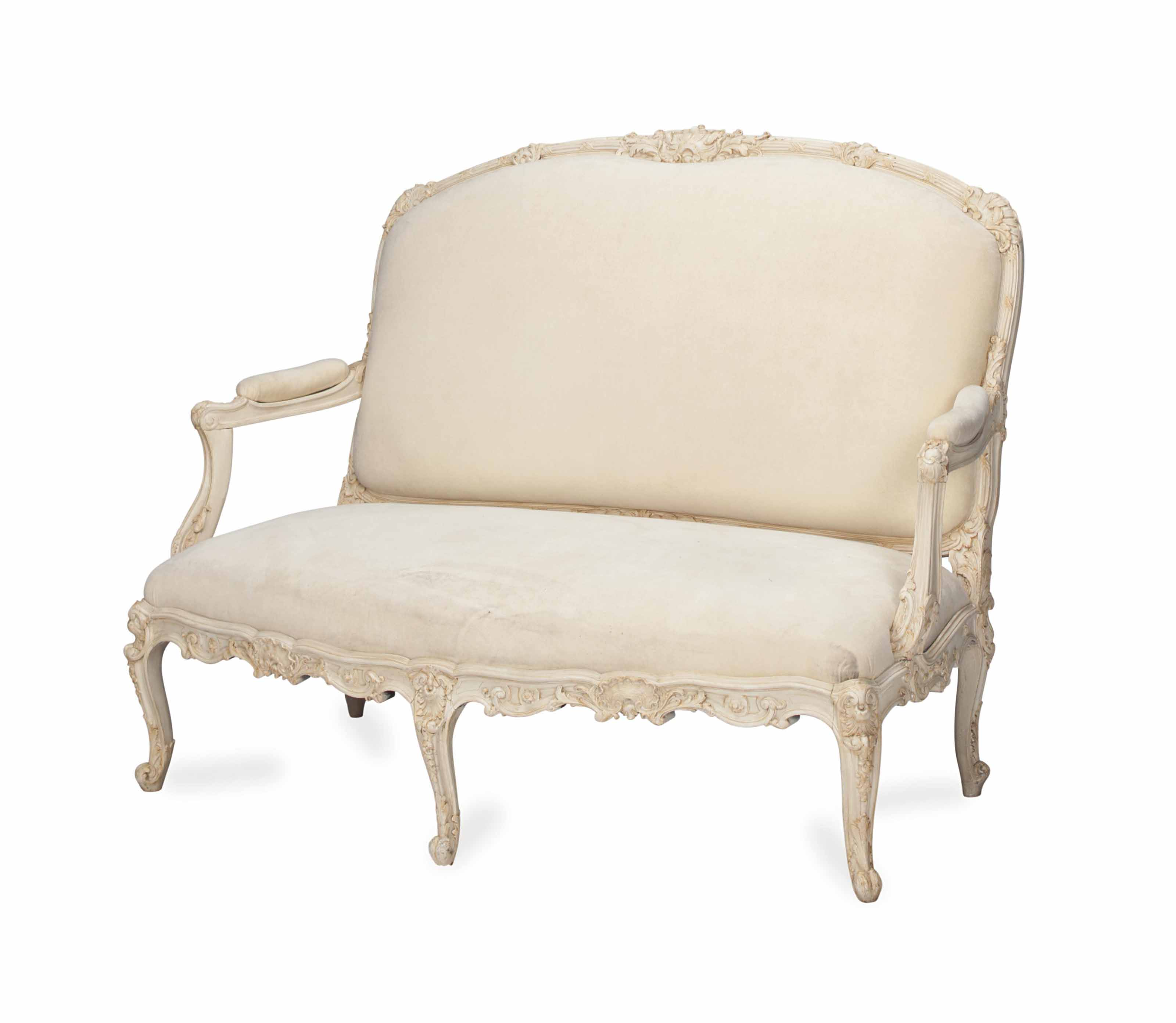A LOUIS XV STYLE CREAM PAINTED