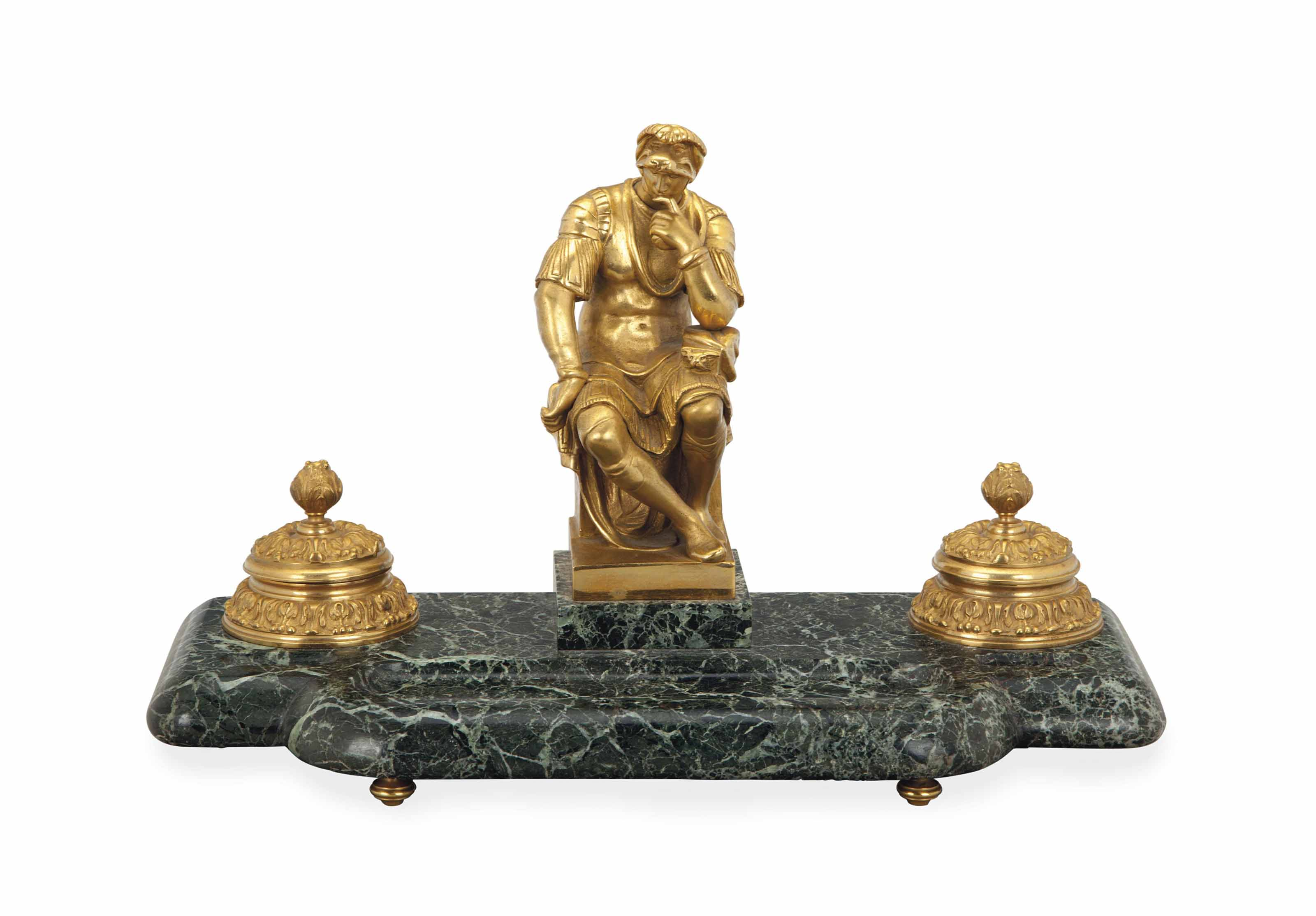 A GILT BRONZE AND GREEN MARBLE
