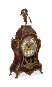 AN AMERICAN GILT BRONZE AND FAUX TORTOISESHELL MANTEL CLOCK,