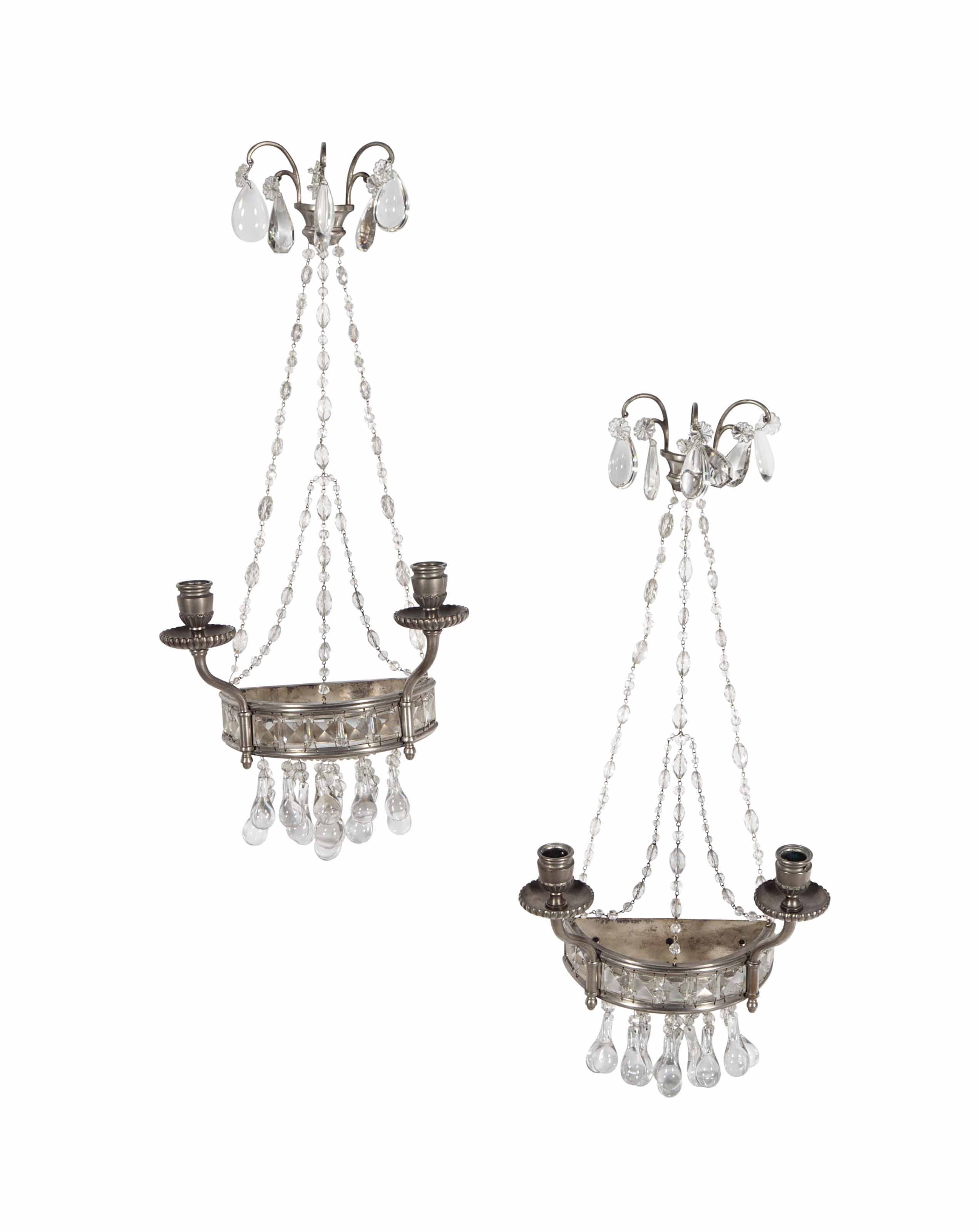 A PAIR OF PEWTER AND CUT GLASS