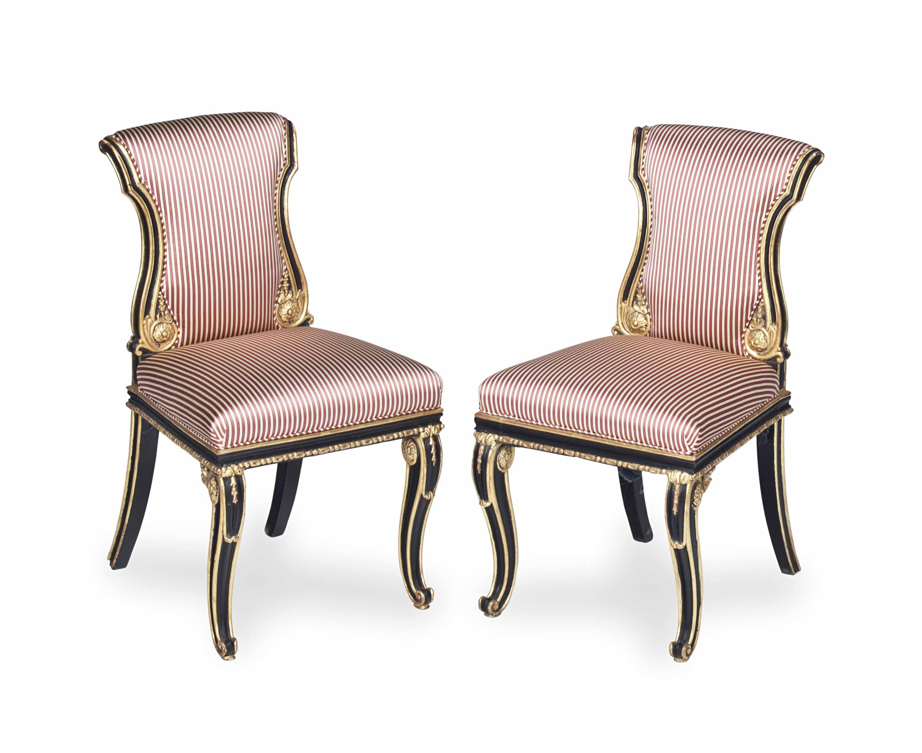 A PAIR OF FRENCH EBONIZED AND