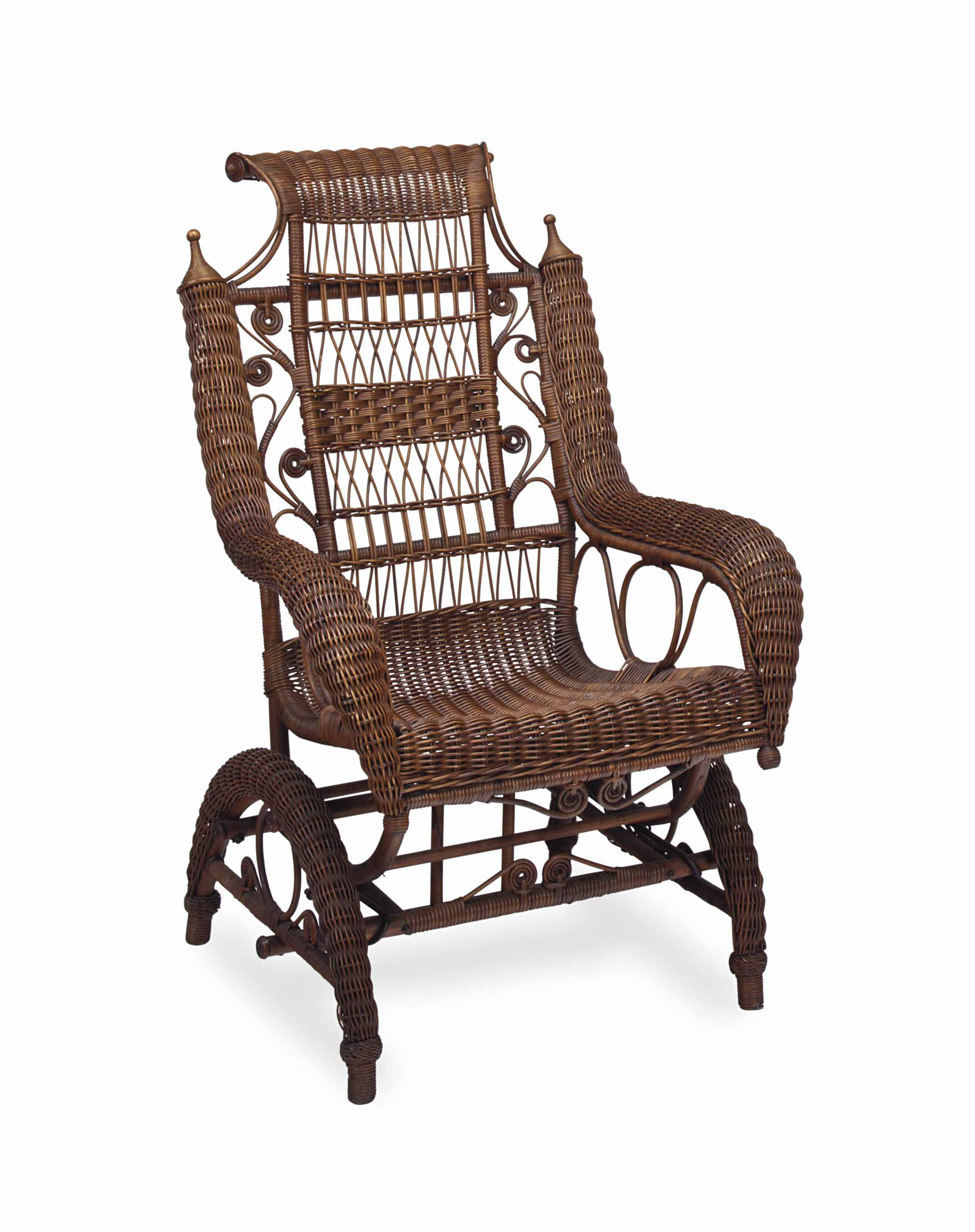 A VICTORIAN WICKER ROCKING CHA
