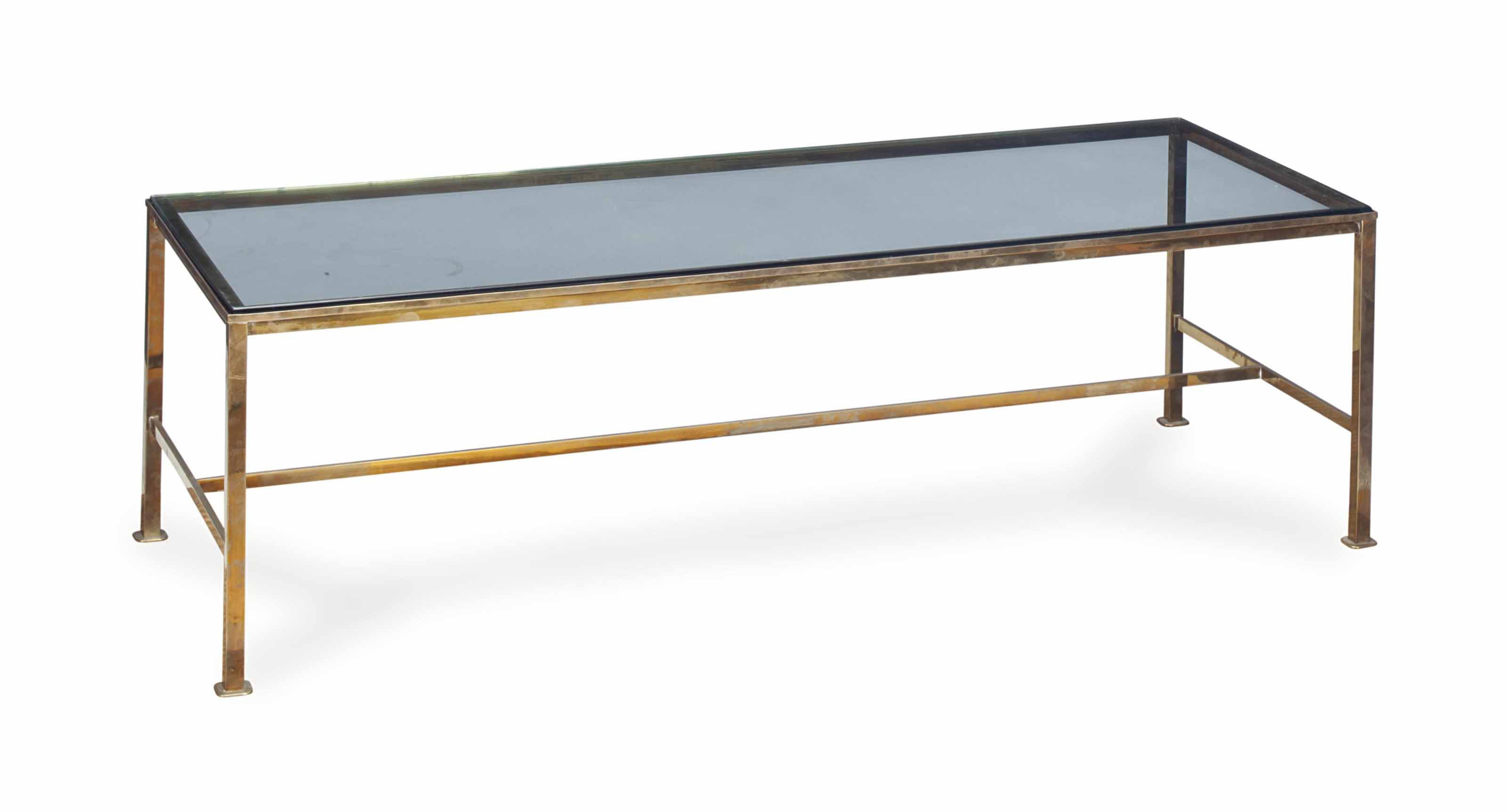 A BRASS AND GLASS LOW TABLE,