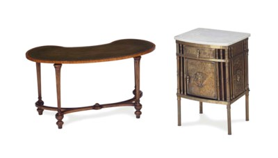 A BRASS MARBLE-TOP BEDSIDE CAB
