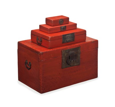 A RED LACQUER TRUNK AND THREE