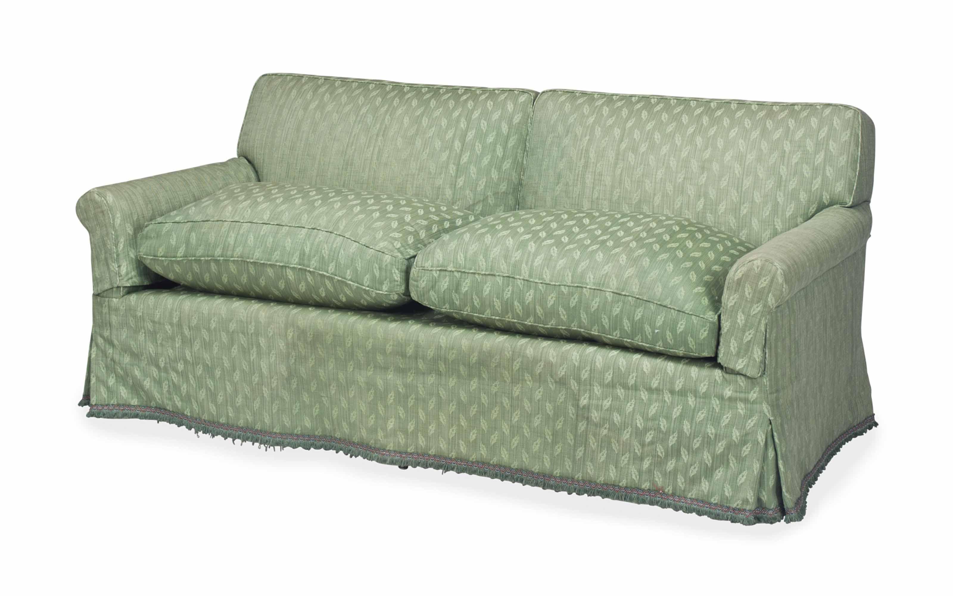 A MODERN TWO-SEAT SOFA UPHOLST