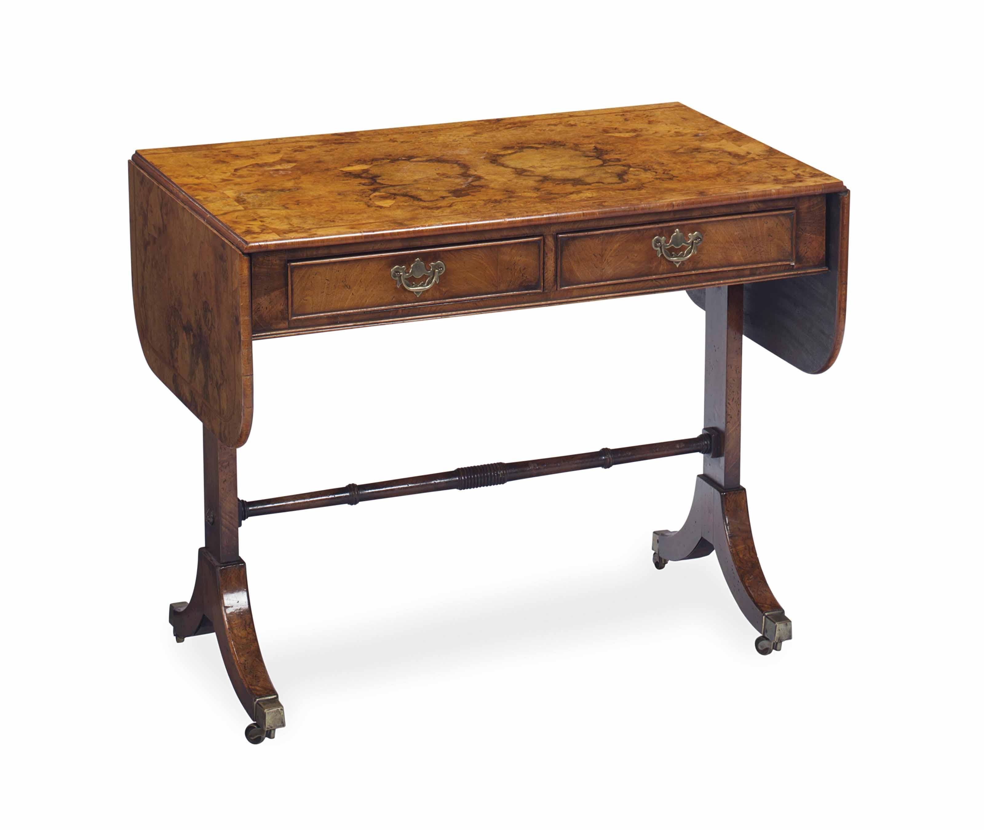 AN ENGLISH WALNUT SOFA TABLE,
