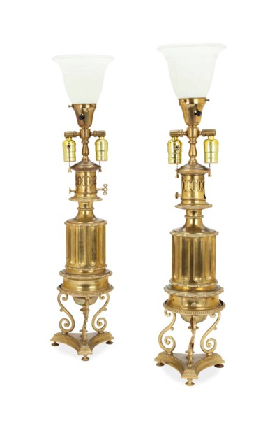 A PAIR OF FRENCH BRASS OIL LAM
