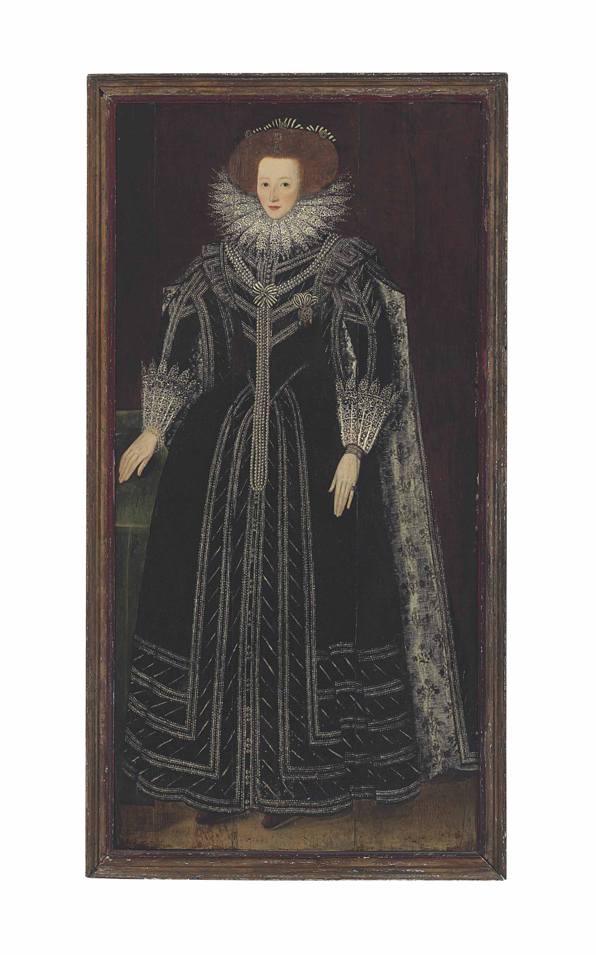 Portrait of a lady, full-length, in black embroidered gown with lace collar