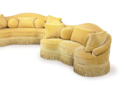 A PAIR OF YELLOW SOFAS