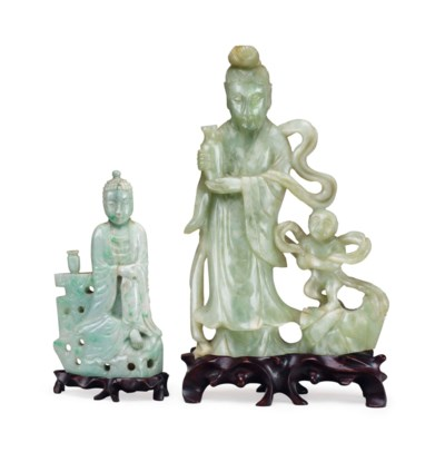 TWO CHINESE HARDSTONE CARVED F