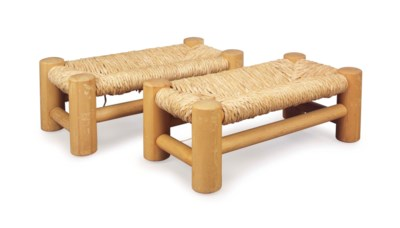 A PAIR OF PINE STOOLS