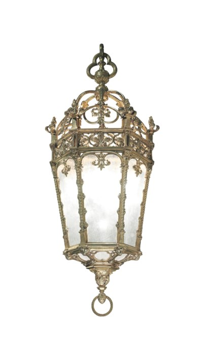 AN ORMOLU AND FROSTED-GLASS HA