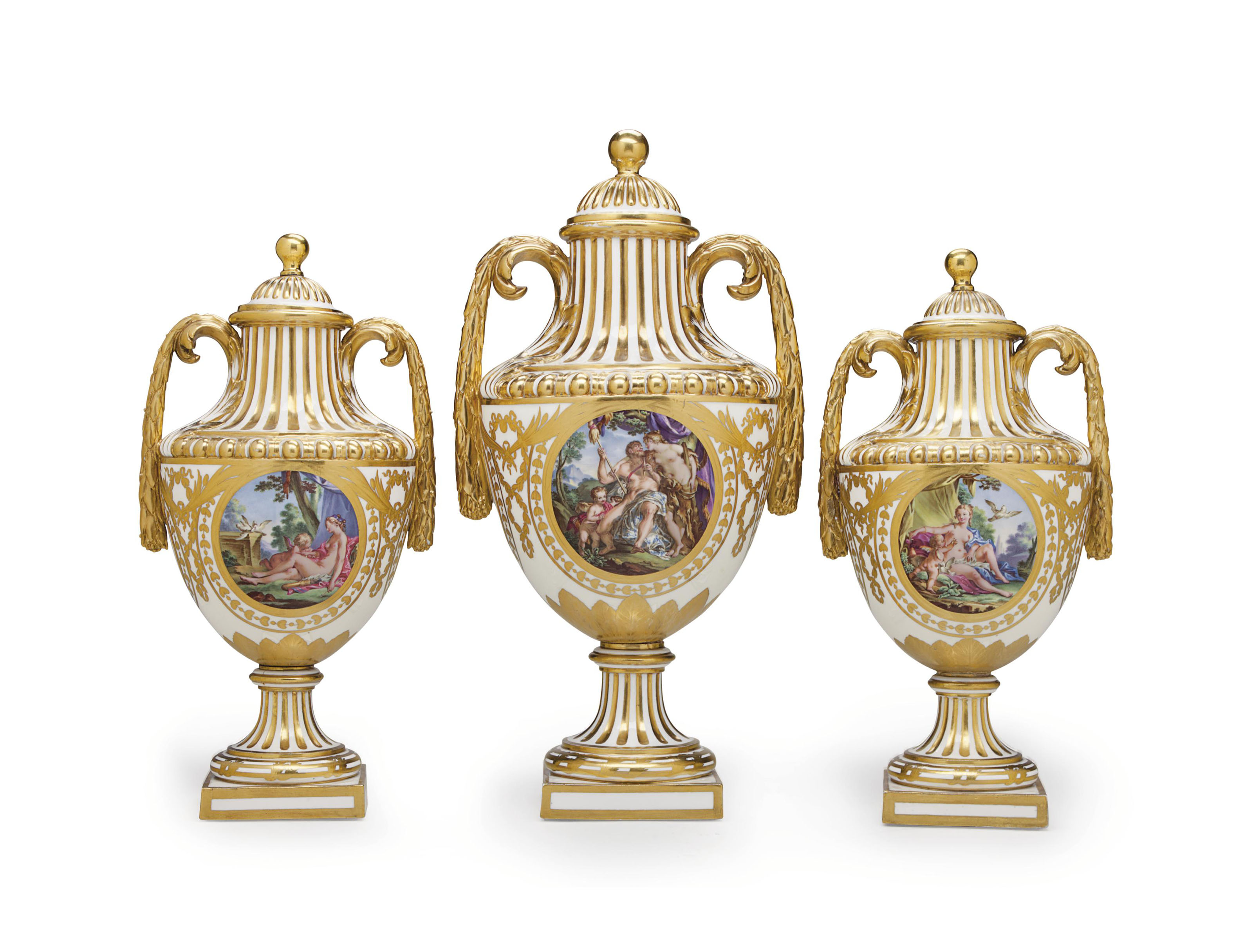 A garniture of three sevres hard paste porcelain vases and a garniture of three sevres h reviewsmspy