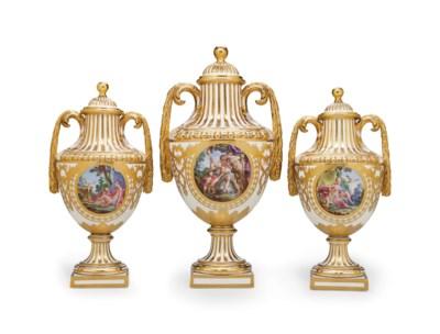 A GARNITURE OF THREE SEVRES (H