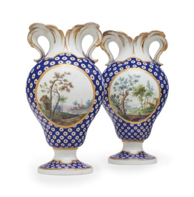 A PAIR OF SEVRES PORCELAIN BEA
