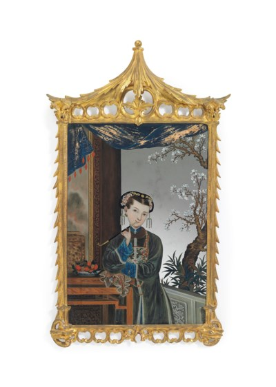 A CHINESE EXPORT MIRROR PAINTI