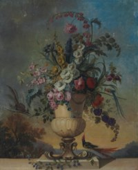 Roses, irises, morning glory, fox glove and other flowers in a sculpted urn, on a ledge, with birds, in a landscape