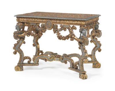 A GERMAN GILTWOOD AND SILVER-P