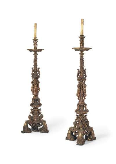 A PAIR OF LACQUERED-BRONZE REN