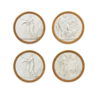 A SET OF FOUR FAUX-MARBLE PLAS