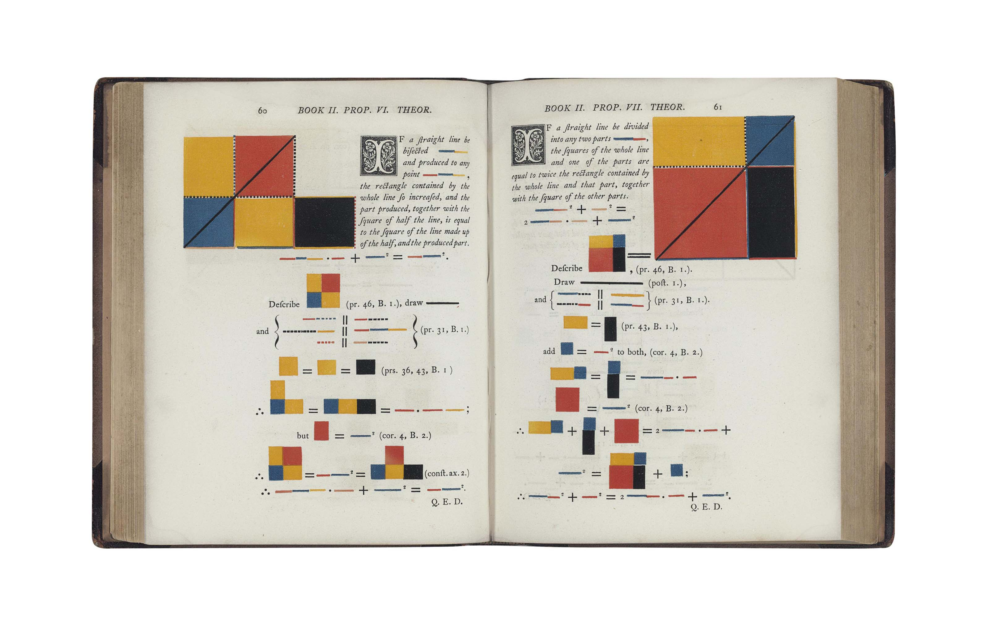 EUCLID -- BYRNE, Oliver (ca 1810 - ca 1880). The First Six Books of the Elements of Euclid in which coloured diagrams and symbols are used instead of letters for the greater ease of learners. London: Charles Whittingham at the Chiswick Press for William Pickering, 1847.