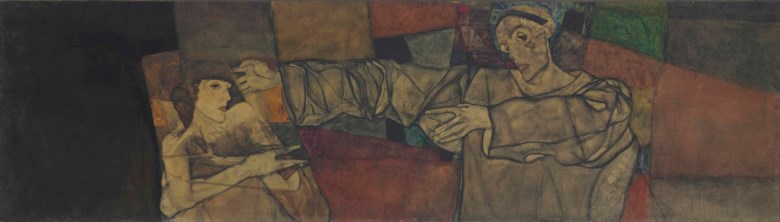 Egon Schiele (1890-1918), Selbstbildnis mit Modell (Fragment), painted in 1913. 27¾ x 95  in (70.5 x 241.2  cm). Sold for $11,323,750 on 8 May 2013 at Christie's in New York