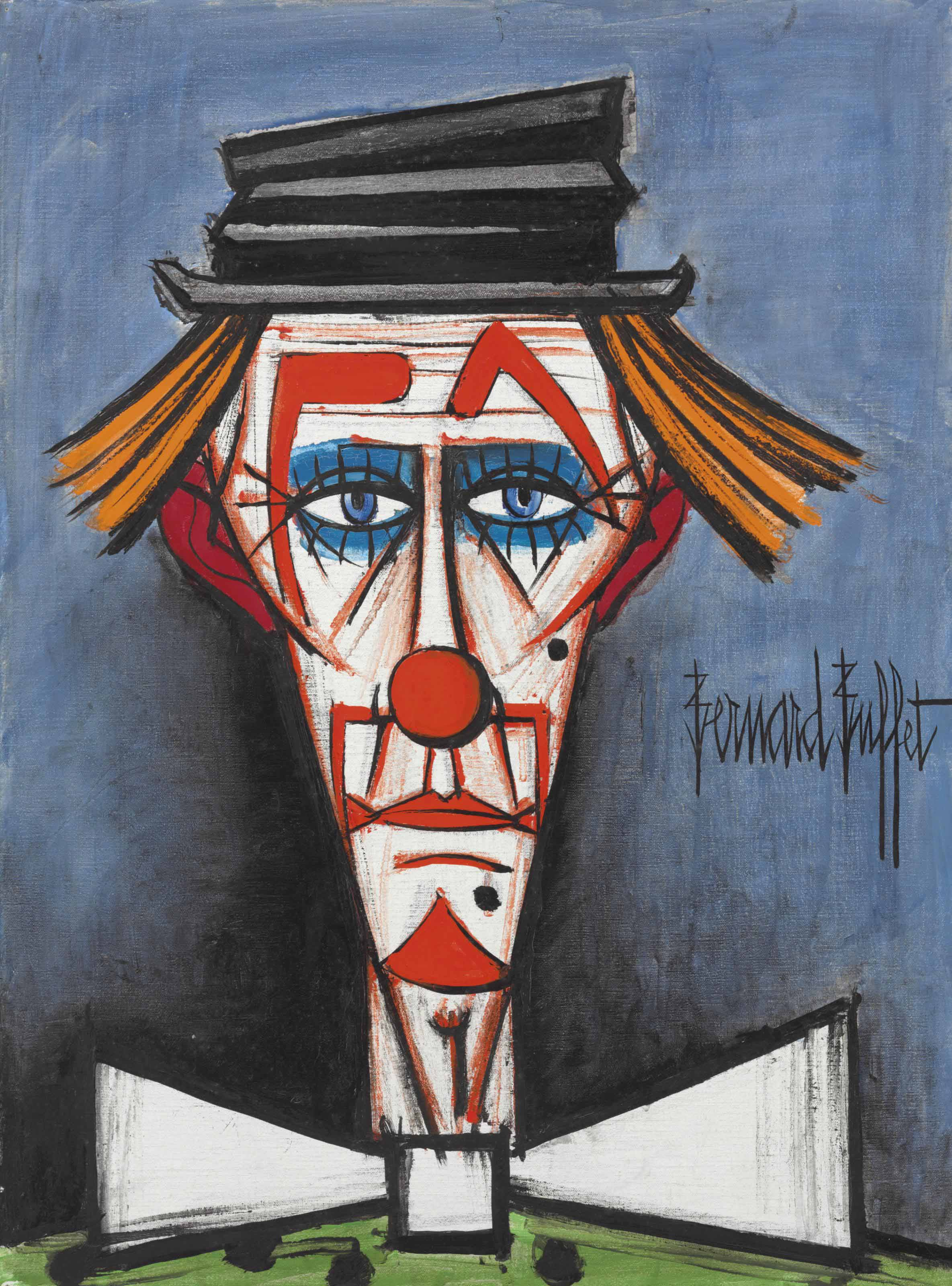 Bernard Buffet (1928-1999) , Clown au chapeau claque ...
