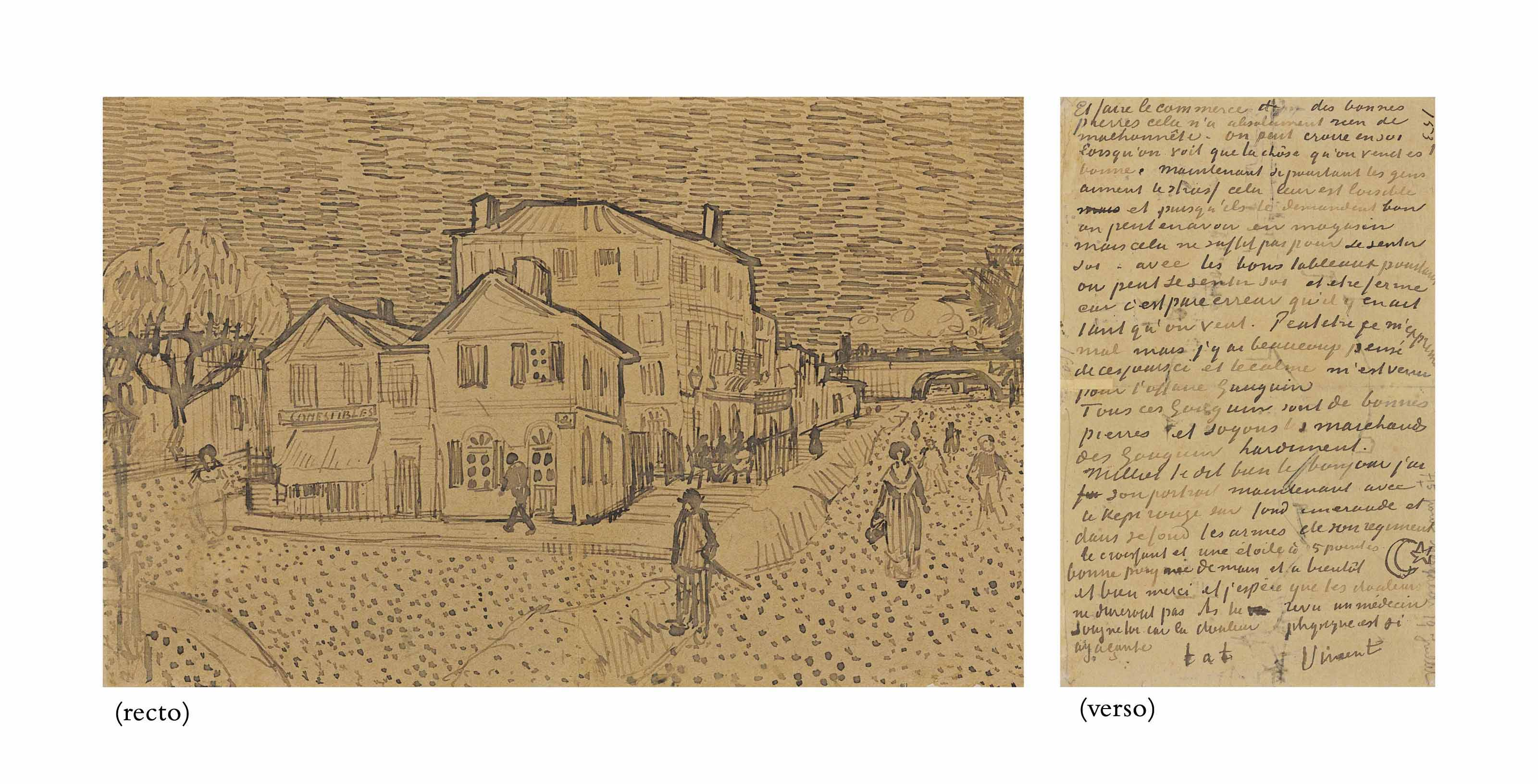 La maison de Vincent à Arles (La maison jaune) (recto); page of a letter from Vincent to his brother Theo (verso)