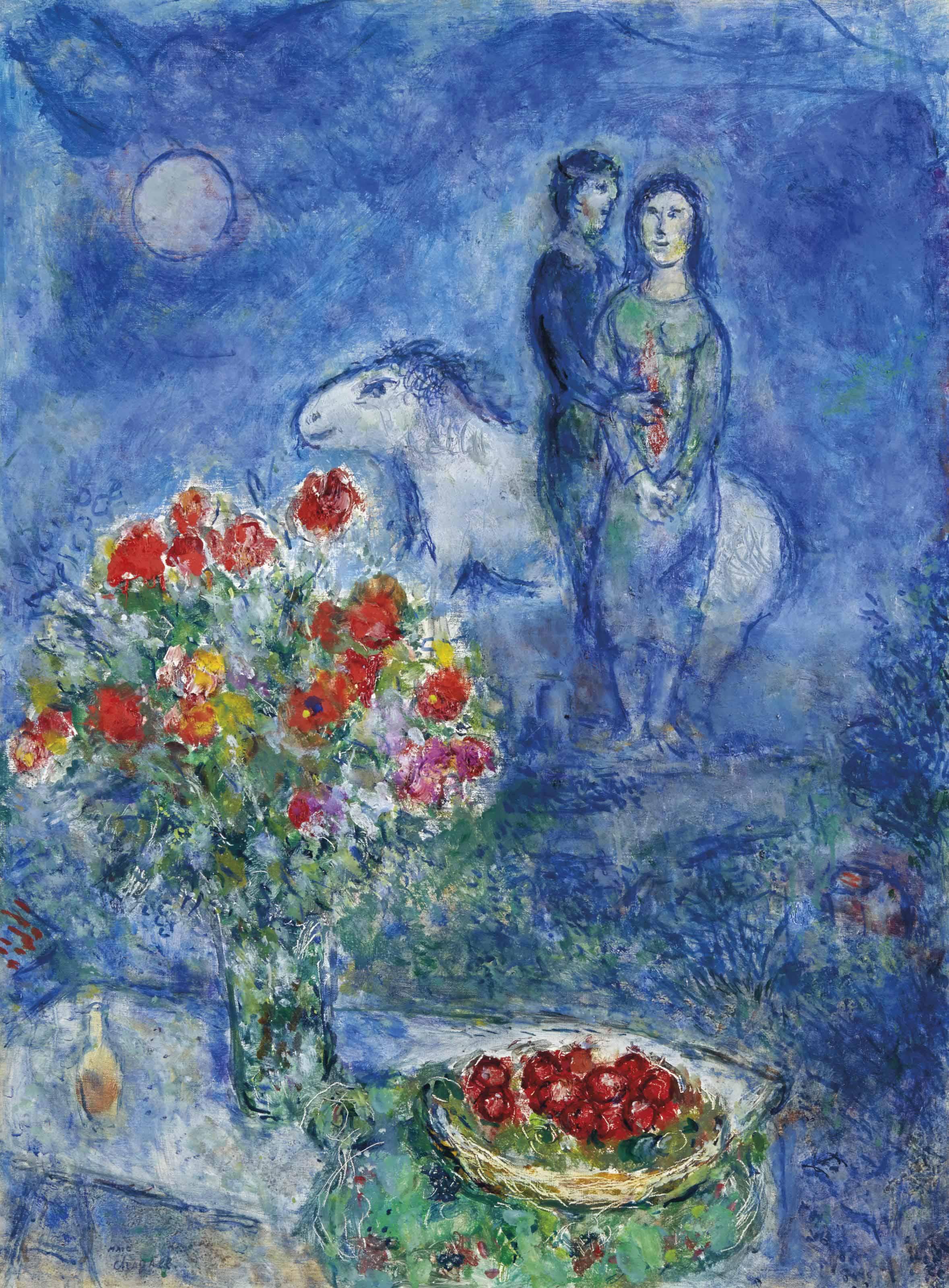 Marc Chagall 1887 1985 Fleurs Et Fruits Rouges Aux Amoureux Dans