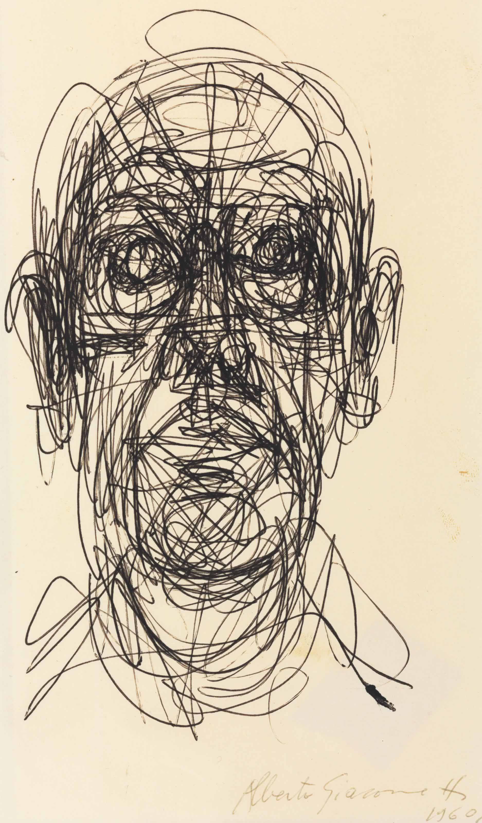 Famous Line Drawing Artists Names : Alberto giacometti tête d homme christie s