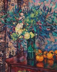 Roses jaunes, kakis et mimosas
