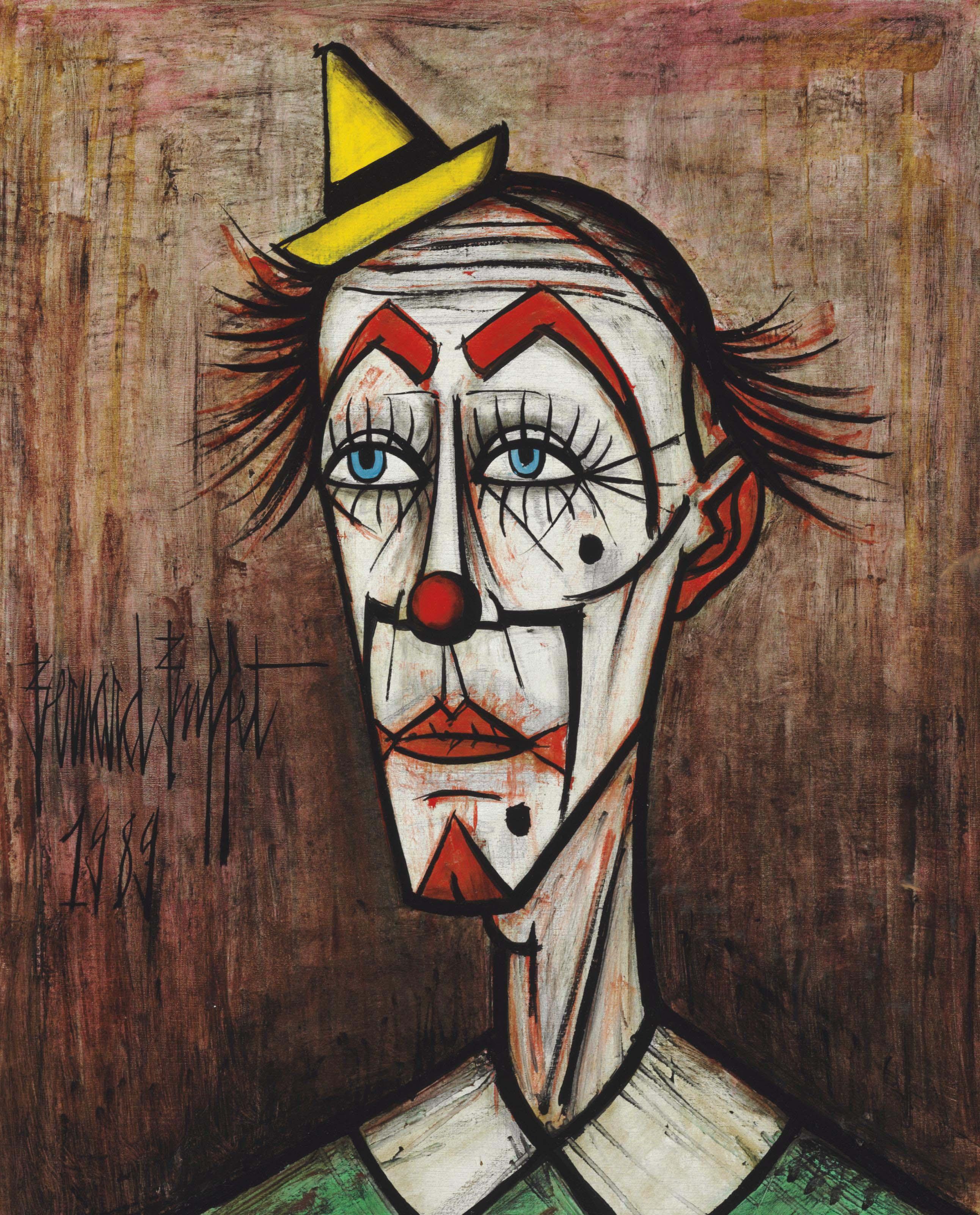 Clown au petit chapeau jaune