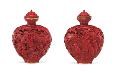 A FINELY CARVED RED LACQUER SN